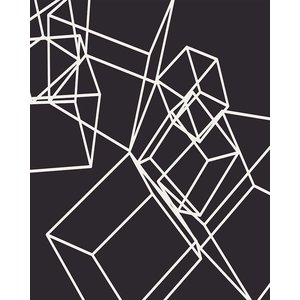 Print on Paper US250 - White Cubes on Black 1