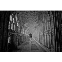 Facemount Acrylic - Gloucester Cathedral Black and White Photograph by M. Beck 1/4 Inch Thick Acrylic Glass