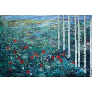 "Print on Paper US250 - ""Birches and Poppies"" by Ljubica Hajduka"