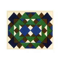 Print on Paper US250 - Geometric in Blue, Brown and Green by Georges Benedictus
