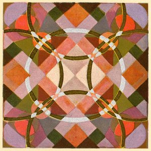 Print on Paper US250 - Modernist Circles in Pink, Green and Red