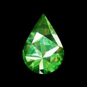 Facemount Acrylic - Precious Gem Green Emerald Pear Shape
