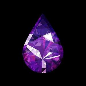 Facemount Acrylic - Precious Gem Purple Amethyst Pear Shape