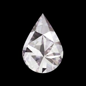 Facemount Acrylic - Precious Gem White Pear Shape Diamond