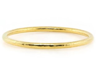 Trabert Goldsmiths Wide Hammered Gold Bangle E1412