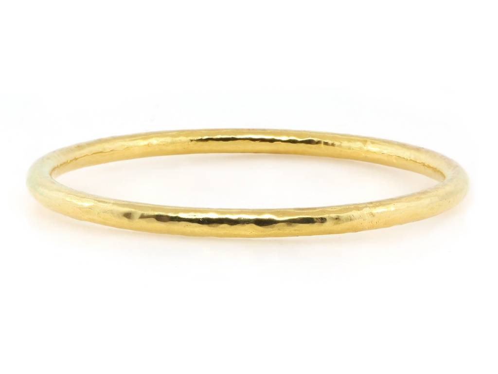 Trabert Goldsmiths Wide Hammered Gold Bangle