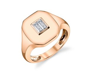 Shay Baguette Diamond Rose Gold Signet Ring SH25