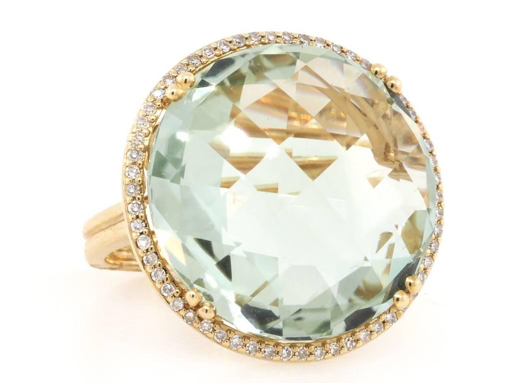 Trabert Goldsmiths Round Green Amethyst and Pave Diamond Ring