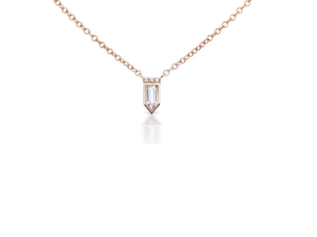 Jane Taylor Petite Arrow Necklace with White Topaz