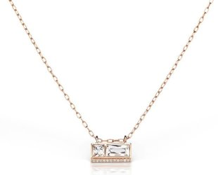 Jane Taylor Double White Topaz Rose Gold Bar Necklace JT5