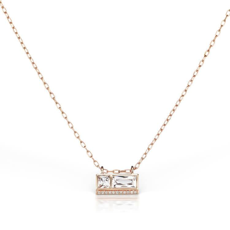 Jane Taylor Double White Topaz Rose Gold Bar Necklace