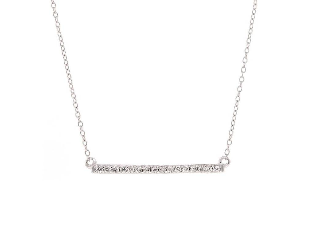 Trabert Goldsmiths White Gold Diamond Bar Necklace