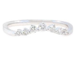 Liven Chevron Diamond Curved White Gold Ring LN8