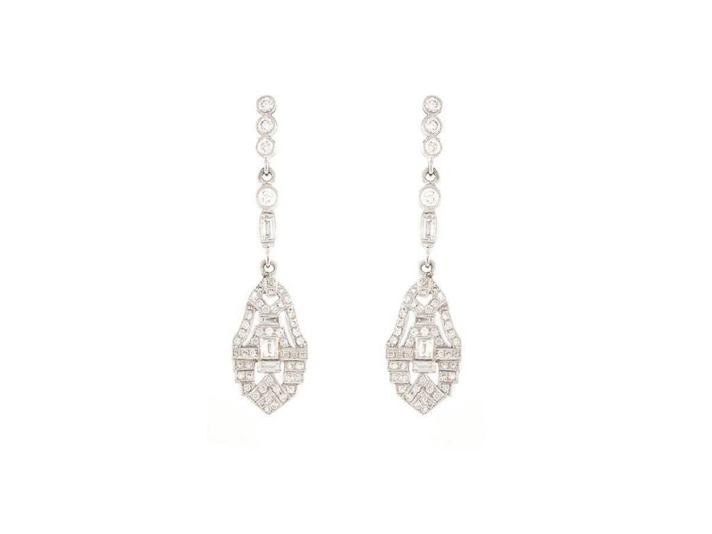 Beverley K Collection Diamond Deco Inspired Drop Earrings