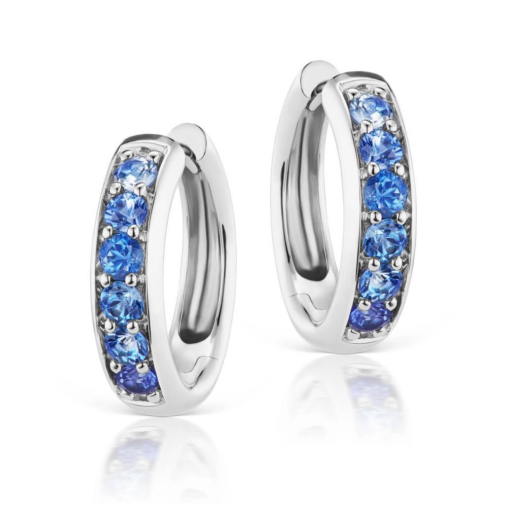 Jane Taylor Blue Sapphire Huggie Hoop Earrings