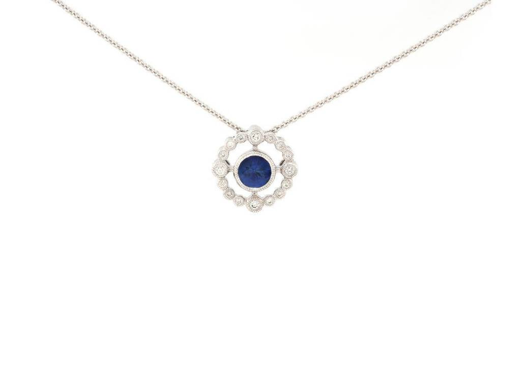 Beverley K Collection Delicate Blue Sapphire and Diamond Necklace