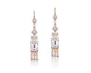 Jane Taylor Rose Gold White Topaz Tassel Earrings JT19