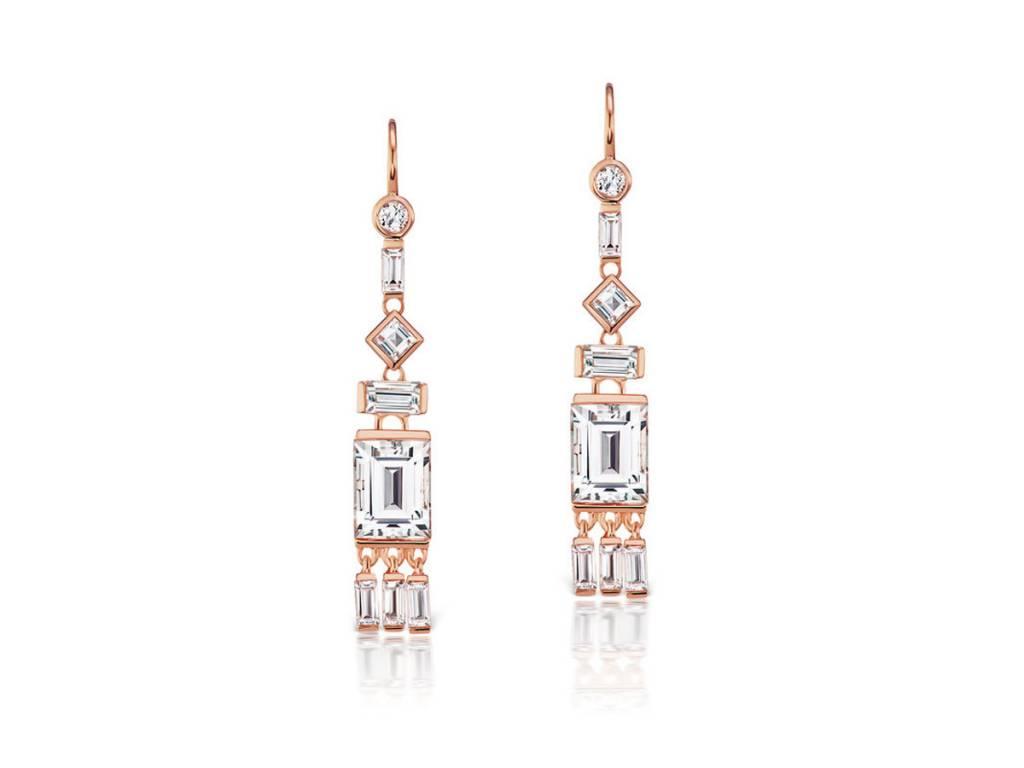Jane Taylor Rose Gold White Topaz Tassel Earrings