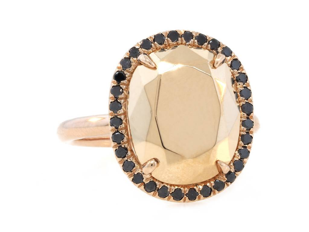 Trabert Goldsmiths Faceted Gold Cushion Ring With Black Diamonds