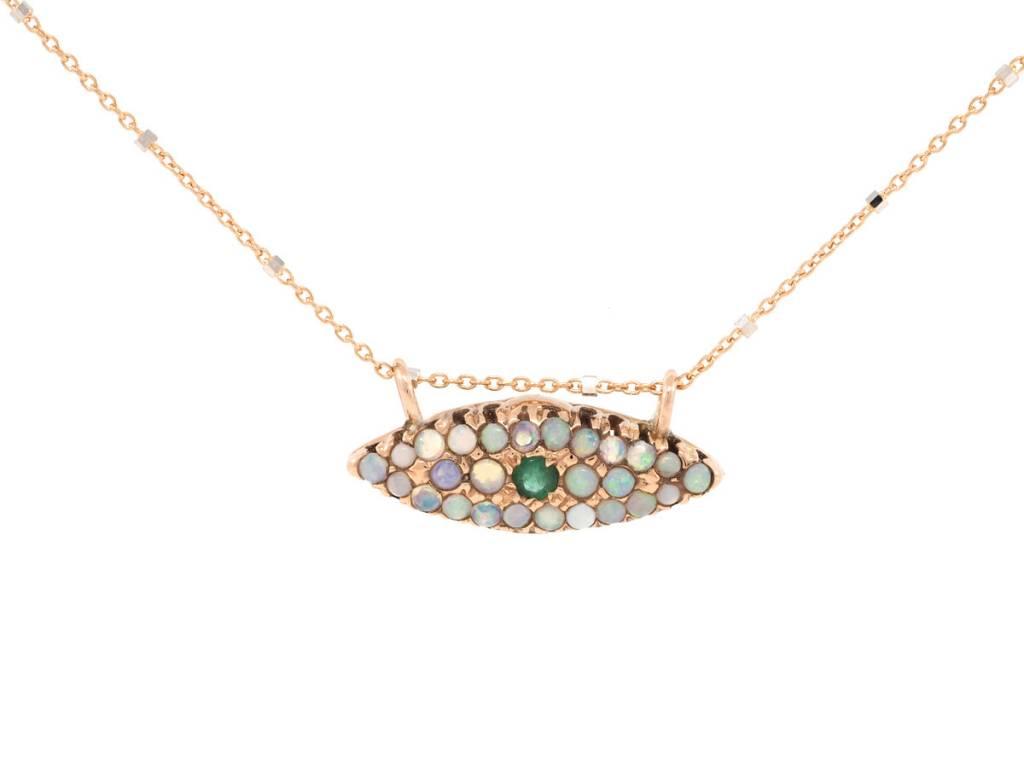 Arik Kastan Opal and Emerald Evil Eye Necklace