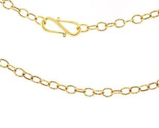Trabert Goldsmiths Long Textured Gold Link Chain E1289