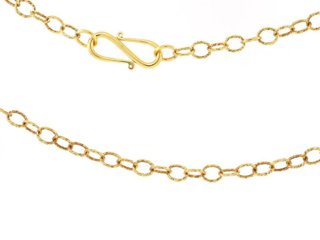 Trabert Goldsmiths Long Textured Gold Link Chain
