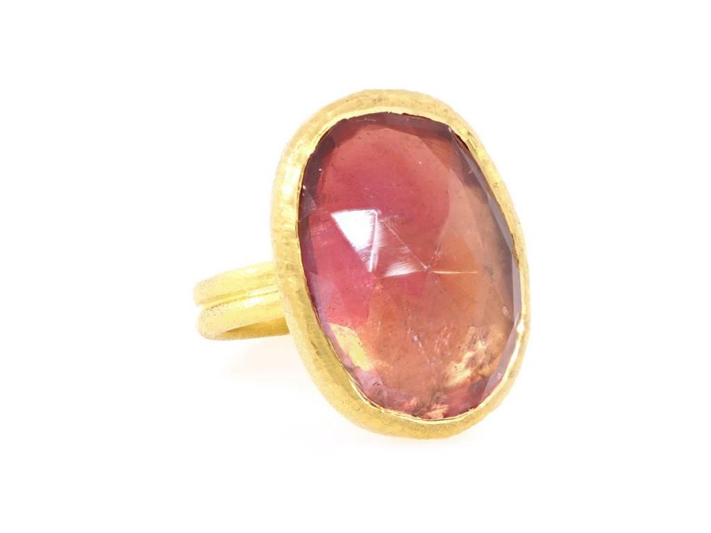 Trabert Goldsmiths Oval Tourmaline Gold Statement Ring