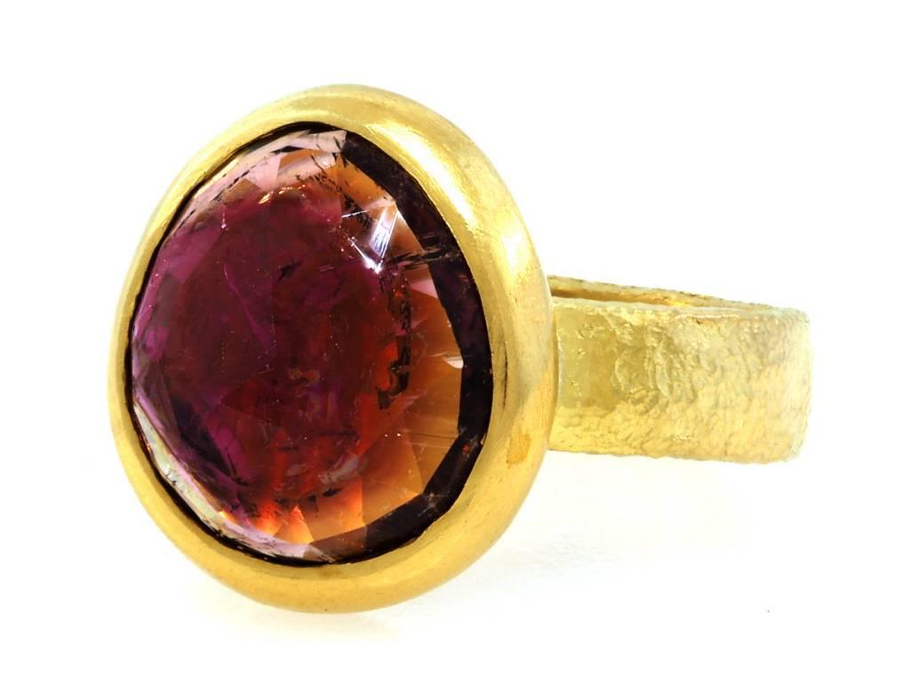Trabert Goldsmiths Bezel Set Pink Tourmaline Ring