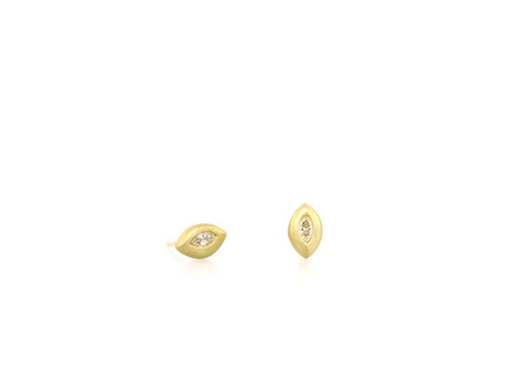Trabert Goldsmiths Marquise Diamond Stud Earrings