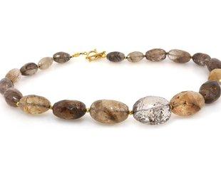 Trabert Goldsmiths Rutilated Quartz and Gold Necklace E1281