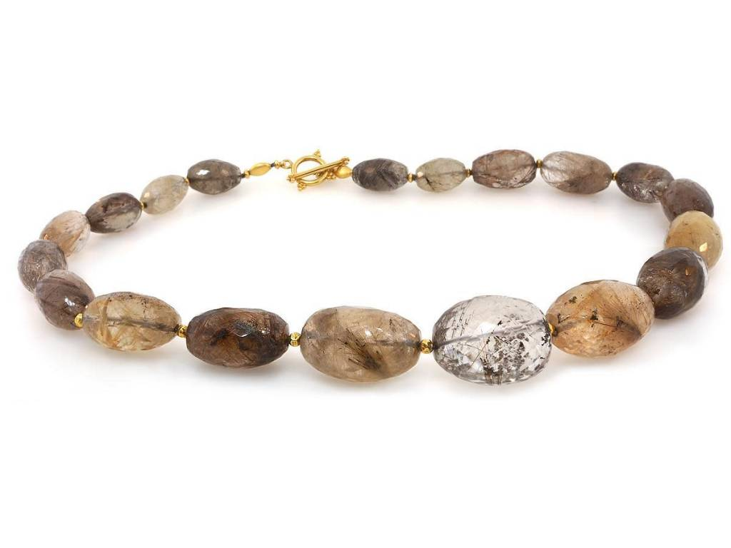 Trabert Goldsmiths Rutilated Quartz and Gold Necklace