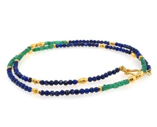 Trabert Goldsmiths Emerald and Lapis Gold Beaded Necklace E1228