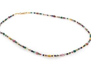 Trabert Goldsmiths Multi Gemstone and Gold Beaded Necklace E1335