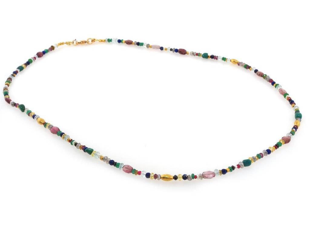 Trabert Goldsmiths Multi Gemstone and Gold Beaded Necklace