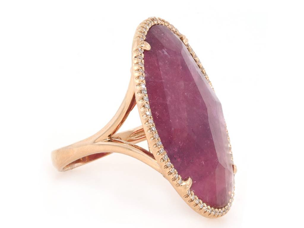 Trabert Goldsmiths Asymmetrical Pink Sapphire and Pave Diamond Ring