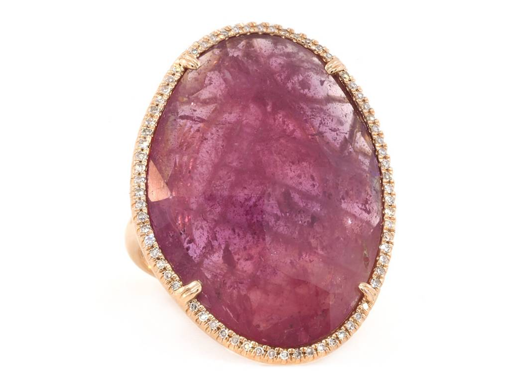 Asymmetrical Pink Sapphire and Pave Diamond Ring