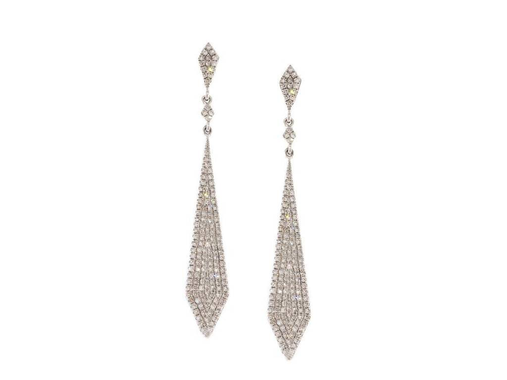 Trabert Goldsmiths Tapered Pave Diamond Drop Earrings