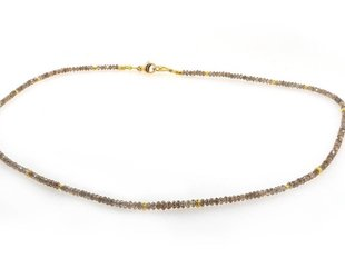 Trabert Goldsmiths Delicate Beaded Champ Dia Necklace E1352