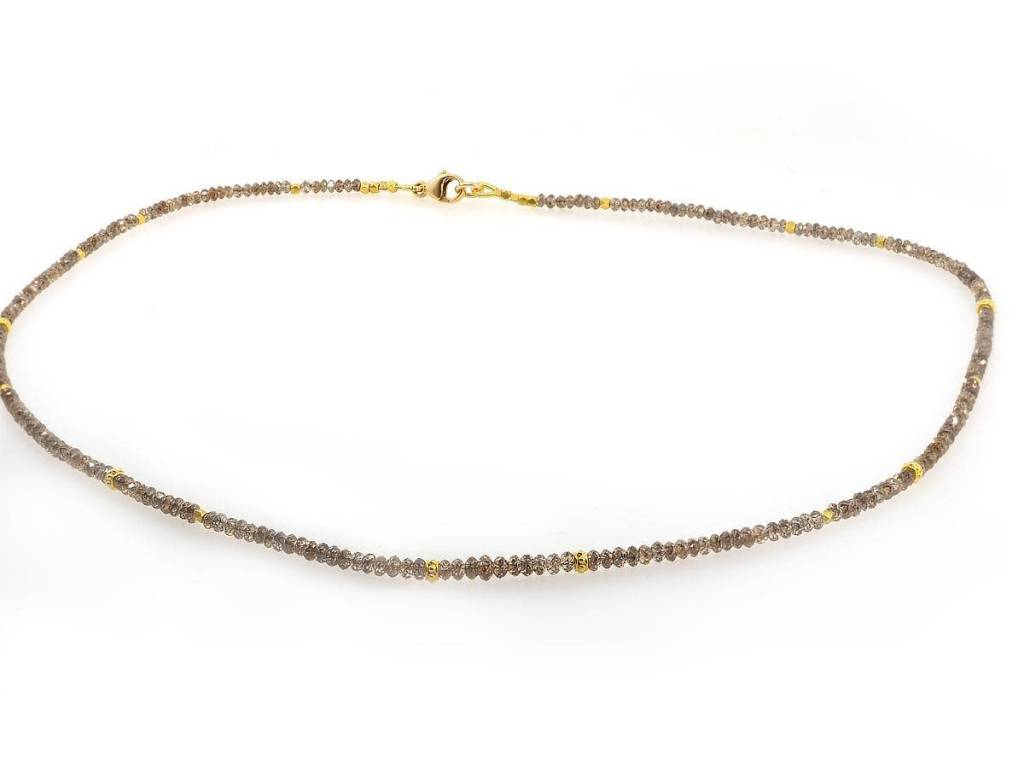 Trabert Goldsmiths Delicate Beaded Champagne Diamond Necklace