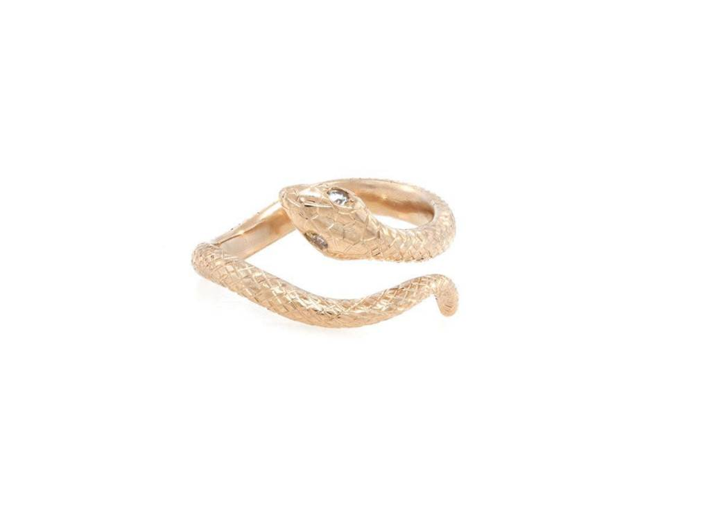 Trabert Goldsmiths Rose Gold Engraved Snake Ring