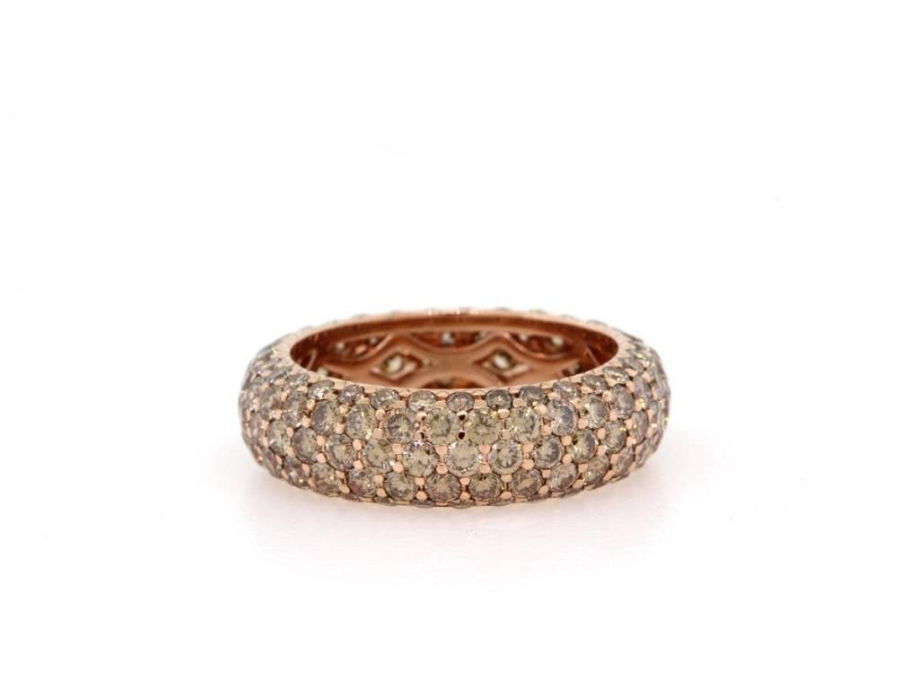 Trabert Goldsmiths Champagne Pave Diamond Ring
