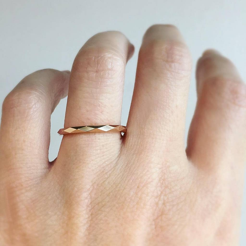 Trabert Goldsmiths Thin Rose Gold Faceted Spectra Band