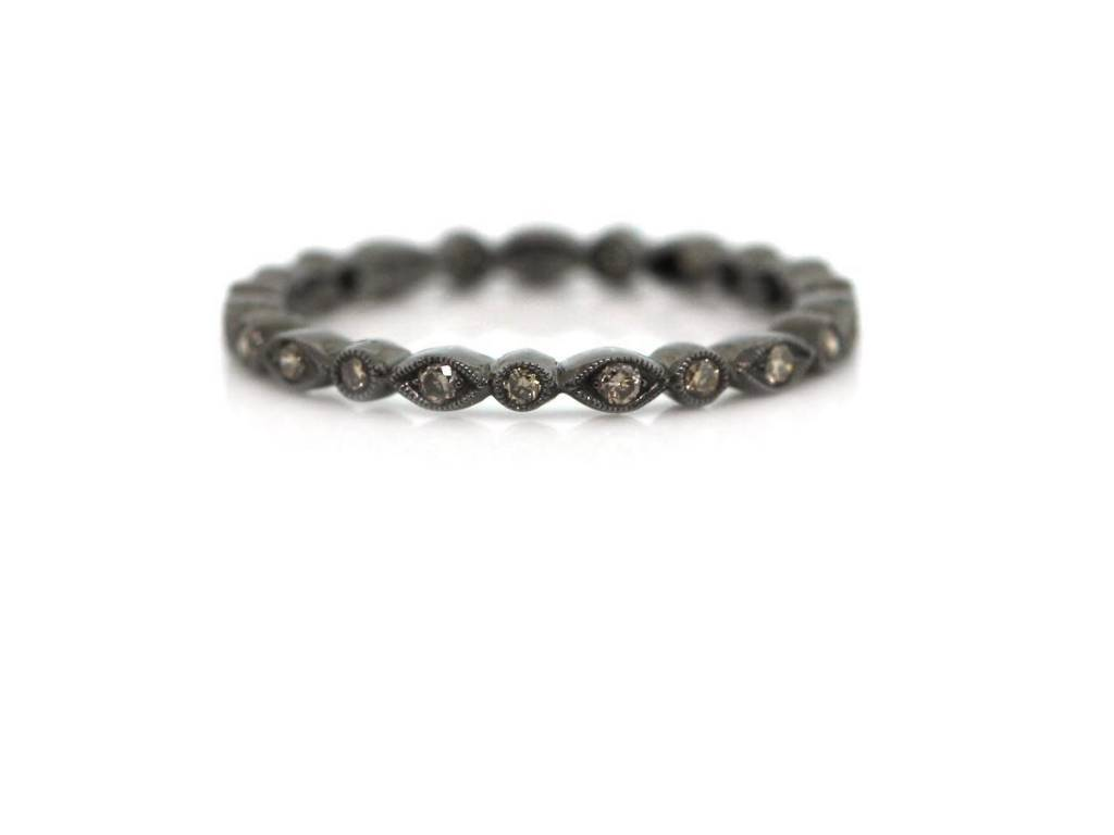 Beverley K Collection Champagne Diamond Black Rhodium Band