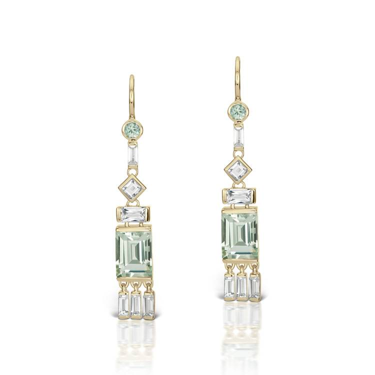 Jane Taylor Cirque Tassel Earrings with Green Quartz