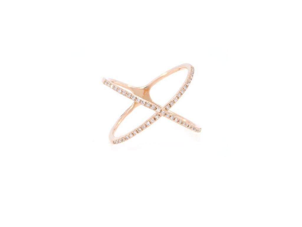 Luvente Rose Gold Pave Diamond Crisscross Ring