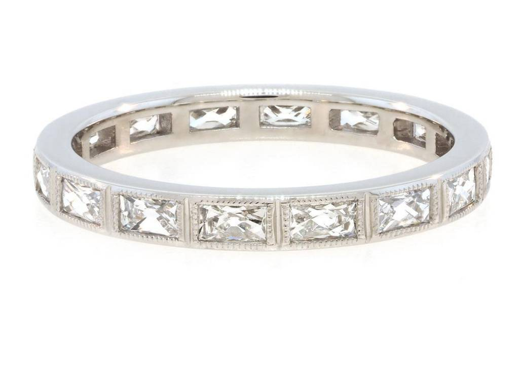 Trabert Goldsmiths Platinum French Baguette Diamond Ring
