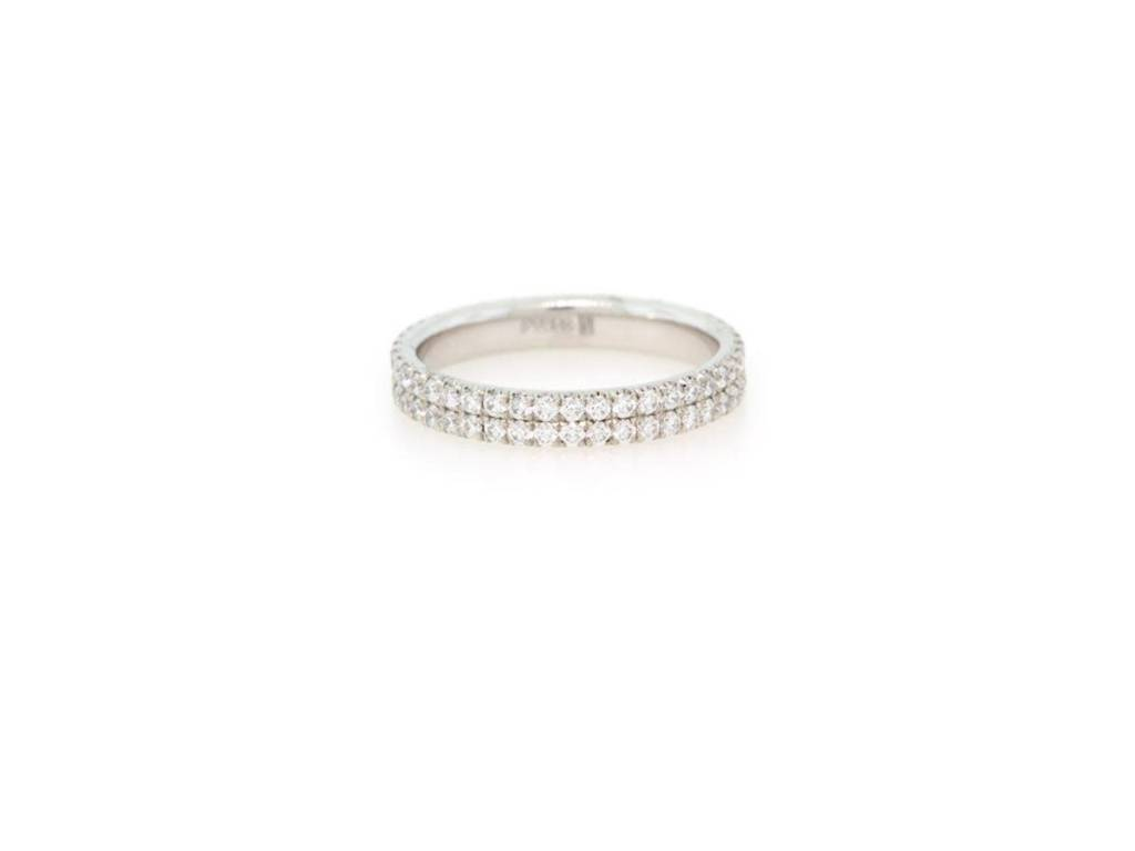 Trabert Goldsmiths Diamond Pave Double Row Ring