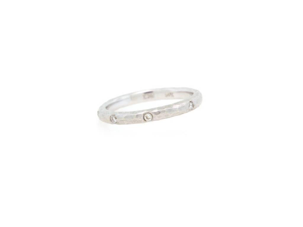 Tony Maccabi Designs White Gold Hammered Diamond Band