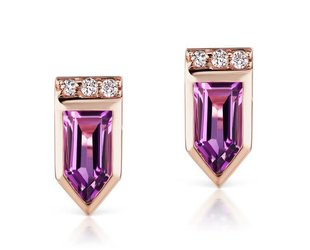 Jane Taylor Cirque Arrow Stud Earrings with Amethyst JT7