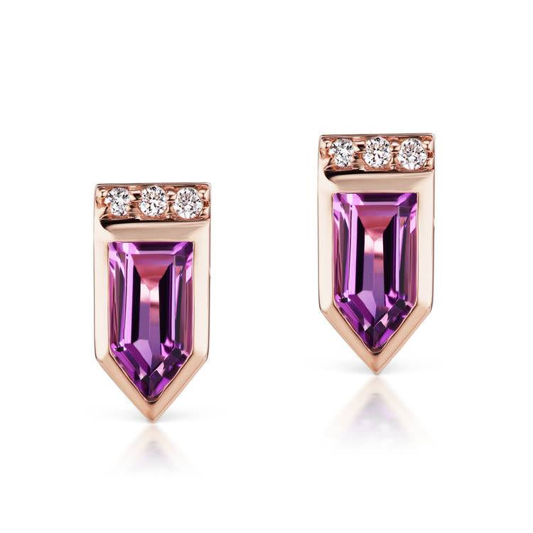 Jane Taylor Cirque Arrow Stud Earrings with Amethyst